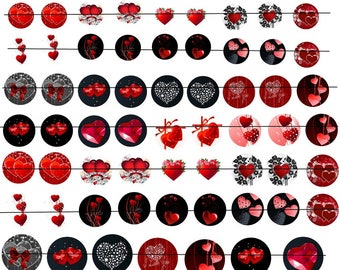 """Digital images """"No. 2"""" round 16-20 and 25mm hearts"""
