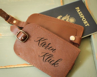 Personalized Monogrammed Leather Luggage Tag
