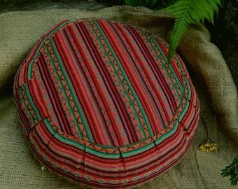 Exotic Caracus Hasina Cotton Fabric  Round Buckwheat Hull Meditation Cushion