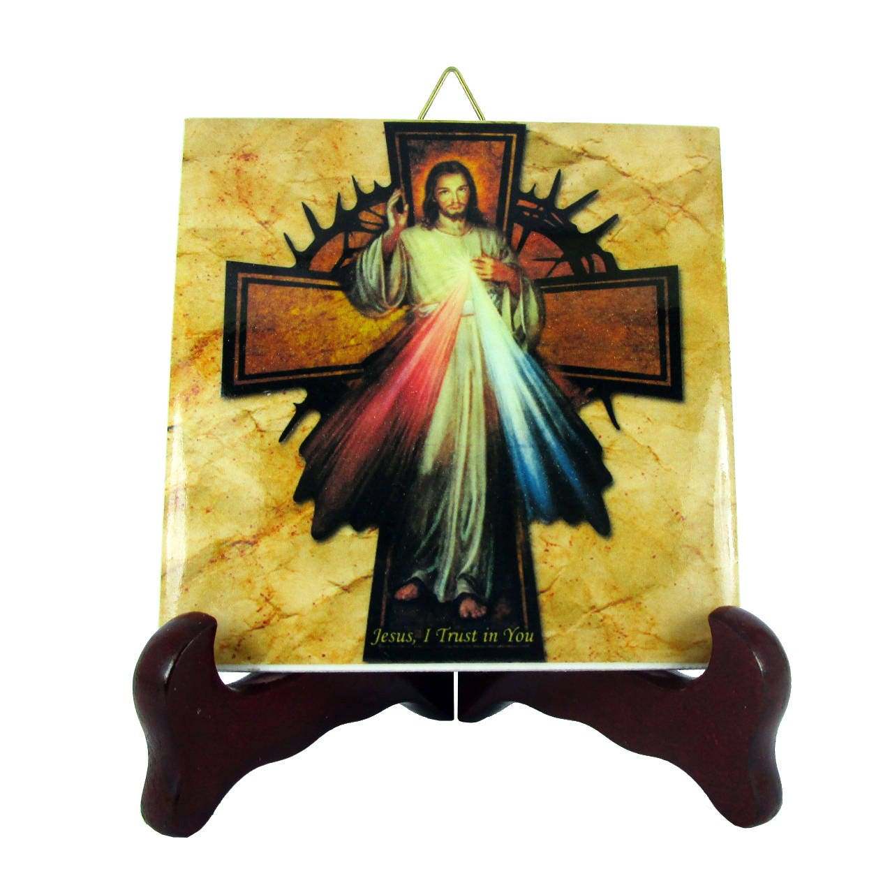 Sugar skull calavera mexicana wall hanging ceramic tile day of catholic gifts jesus christ of divine mercy with cross collectible ceramic tile religious gift idea holy dailygadgetfo Images