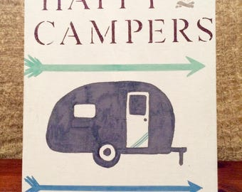 Happy Campers canvas sign