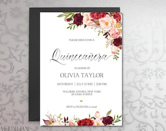 15 invitation etsy quinceanera invitation template rustic diy printable 15 birthday party invitation pdf instant download solutioingenieria Images