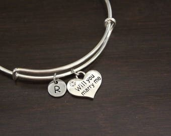 Will You Marry Me Bangle - Will You Marry Me Jewelry - Marry Me Bracelet - Marriage Proposal Jewelry - Marriage Proposal Bangle - I/B