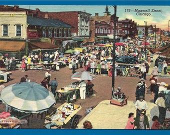 Vintage Linen Postcard - Ghetto Market on Roosevelt Road and 14th Street Chicago, Illinois (2499)