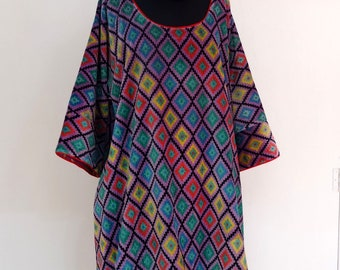 Long and loose-fitting TUNIC in purple and multicolor motifa Argyle cotton Velvet