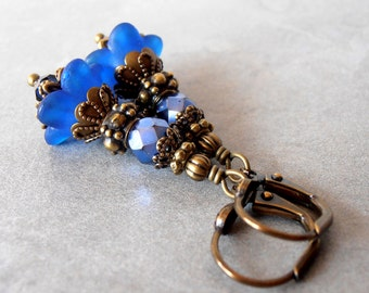 Blue Earrings, Flower Earrings, Sapphire Floral Dangles, Royal Blue Flower Drops, Antiqued Bronze Earrings, Spring Earrings, Garden Gift