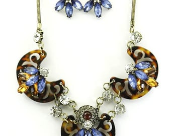 ON SALE Statement Half flower necklace and earrings set, Tortoise, Blue sapphire, bib, gift idea, Mother's Day gift.