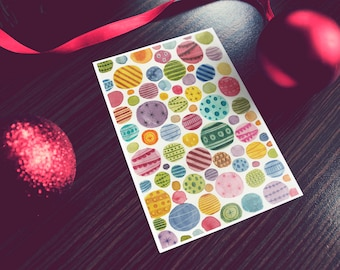 Christmas Decorations Pattern Card, Handmade Item, Water Color Illustration, Colorful Creative Christmas Card