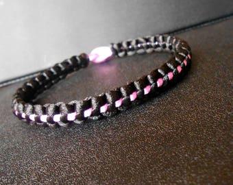 "Bracelet ""Licorice"" black and pink (heliotrope)"