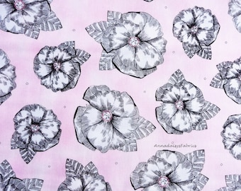 Pink Floral Fabric, Studio 8 for Quilting Treasures Madison 23396P, Pink & Black Floral Quilt Fabric, Cotton Yardage