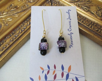 Japanese washi origami paper beaded drop earrings by cra1nes on etsy
