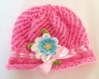 Bright Pink Hat, Pink Hat, Kids Stretchy Pink Hat, Pink Rolled Brim Hat, Vibrant Pink Summer Hat, Girls Pink Hat With Flower