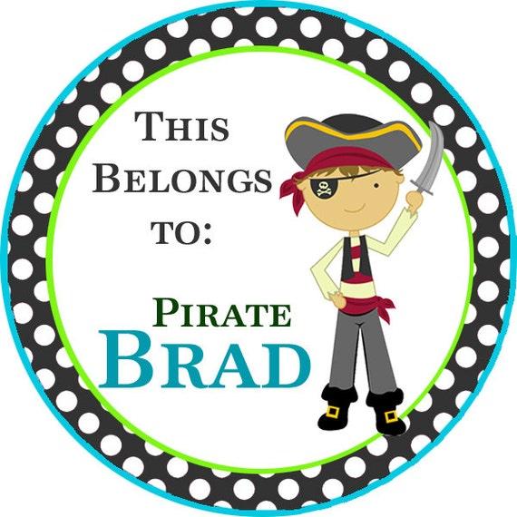 Boys Premium Name Labels: Name Tag Stickers Black Polka Dot Boy Pirate Personalized