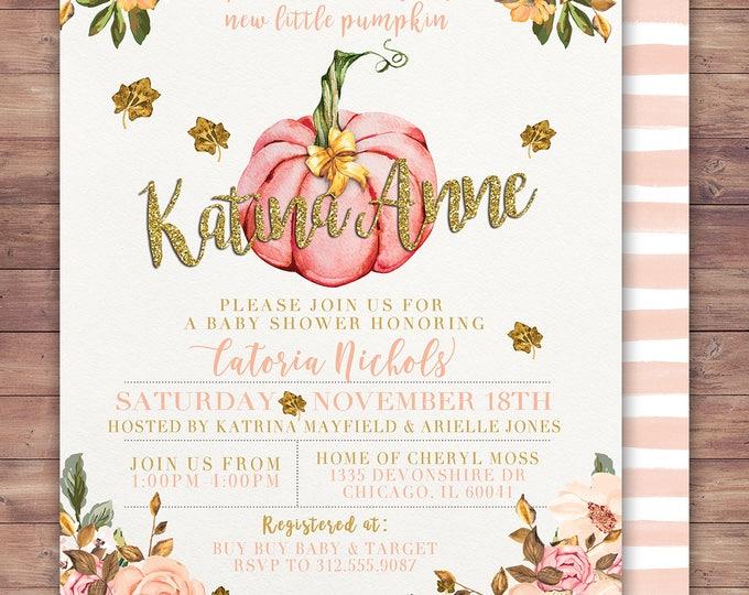 Girl Little Pumpkin Baby Shower Invitation, girl baby shower invite, pumpkin baby shower invite, fall baby shower, pumpkin watercolor,