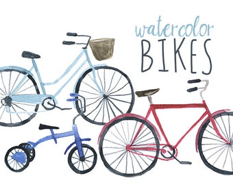 Watercolor Bikes Clip Art, Bicycle Clipart, Bike Clip art, Watercolor tricycle, Bike Clipart, Transportation Clipart, Eco Friendly Clipart