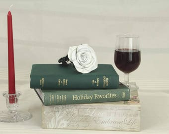 White Leather Rose, Christmas Gift, Valentine's Day Gift, Leather Anniversary Gift, bridesmaid gift, Birthday Gift, Mother's Day Gift