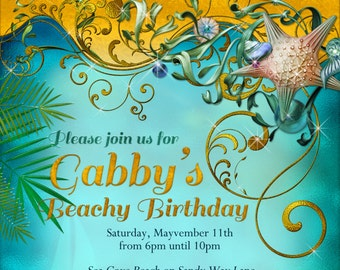 Beach Birthday, Beach birthday party, Beach themed invitations, party invitations
