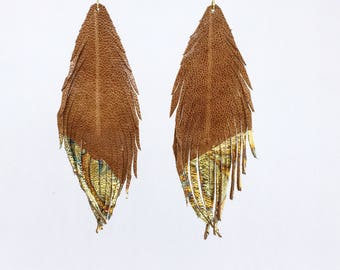 Natural tan and gold genuine LEATHER feather earrings with gold leaf tips metallic leather earrings lightweight dangle earrings