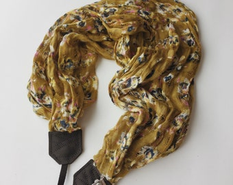 NEW Studio Love Camera Strap: floral abstract olive green scarf pro photographer dslr leather