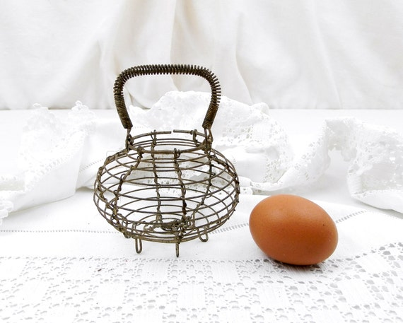Vintage French Toy Wire Ware Egg Basket, Miniature Salad Strainer France, Country Shabby Cottage Kitchen Décor, Retro, Collectible Child