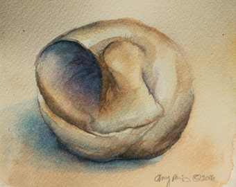 Inside of a Seashell Small Original Watercolor Painting