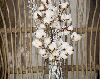 Cotton Boll Stems , Cotton Bolls , Cotton and White Flax Branches , Wedding Flowers , White Cotton and White Flax , Cotton and Twig Bouquet