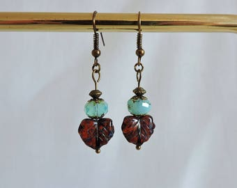 Czech glass earrings, maple leaf earrings,  glass beaded earrings, rustic earrings, dangle earrings