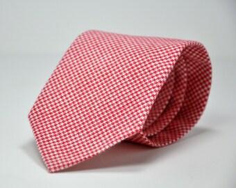 Boy's Necktie in Red Houndstooth Flannel - Christmas Necktie