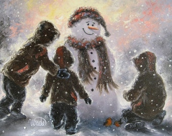 Three Boys Snowman Painting, ORIGINAL oil painting, three brothers snow painting, winter, snow paintings, snow children, Vickie Wade Art,