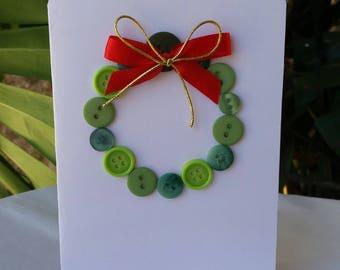 Button  Wreath Christmas Card !!!