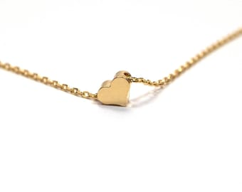 Gold plated Heart Necklace, Dainty Heart necklace, tiny gold heart charm, Tiny Heart Necklace, Delicate heart necklace, Bridesmaid gift, TGH