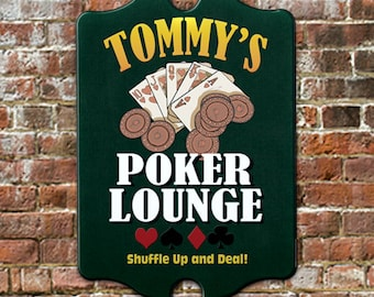 "Custom PERSONALIZED Poker Lounge Bar Pub Tavern Sign - Traditional Antique Look for Game Room, Man Cave Wall Decor 11 x 16"" GREAT Gift!"