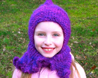 Rose Hooded Scarf Pattern PDF Knit Knitted Elf Hat Harf Scood