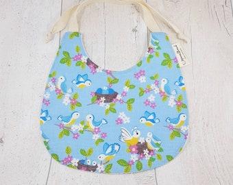 Baby bird bib, baby dribble bib, pretty baby gift, bib with ties, bird print, baby birds, baby animals, toddler dribble bib, blue baby bib