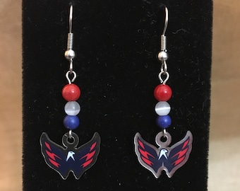 Washington Capitals NHL Themed Dangle Earrings
