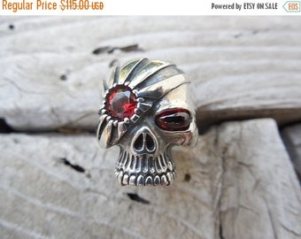 ON SALE Skull ring in sterling silver
