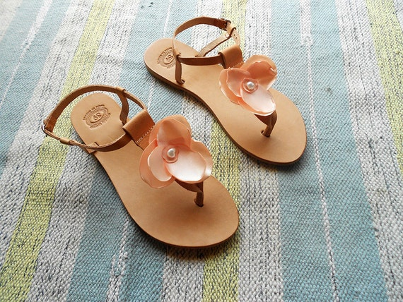 Sandals bar Flats Party Wedding Nude Sandals Blush T Leather Natural Bridesmaid Sandals Bridal Floral Pink Sandals 0xw7WqxIFp