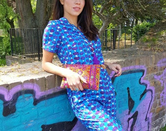 SALE-Short Sleeve Jumpsuit Rompers Handmade in Blue and Purple Print  Cotton with Pockets and Piping
