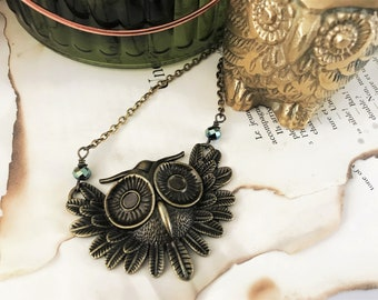 Large Brass Owl Charm Pendant Necklace - Antique Brass with faceted metallic green rondelles