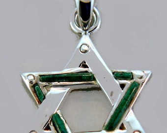 Large Star of David Sterling Silver and Chrisocola Pendat.