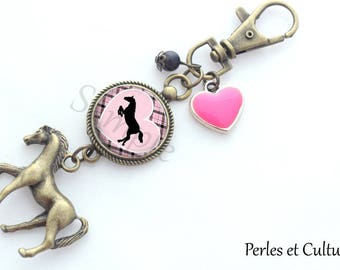 Horse cabochon Pink Purple black gingham heart keychain