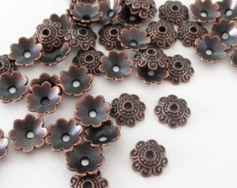 Copper Bead Bell Caps - Antique Copper Daisy Bead Cap Spacers - Bead Caps Filigree - 20g. 100 PCS - 8mm - Diy Jewelry Supply - Bulk Options