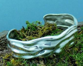 Bracelet Sterling Silver Cuff Wave