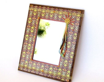 Small Mirror Decoupaged Boho Style Mixed Media Bohemian Wall Art Mirror Crystal Embellished Multicolor Brown Decorated Mirror