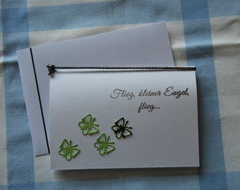 """Funeral card for a deceased child """"Butterflies"""""""