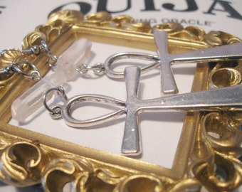Large Egyptian Ankh Earrings With Quartz Crystal