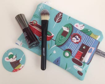 Mice go camping small make up bag, zippered pouch, cosmetics  purse, mice, animal lover.