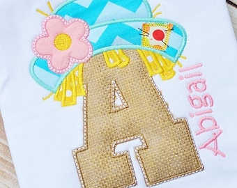 Personalized Girly Scarecrow Initial Applique Shirt or Bodysuit for Boy or Girl