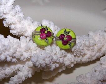 "Duo ""fruit pebbled"" red Lampwork Glass"