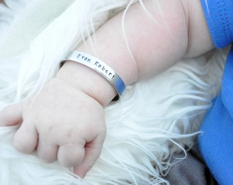 Personalized Bracelet - Custom Hand Stamped Baby Bracelet - Baby Cuff Bracelet - Personalized Kids - Baby Shower Gift - Baby Boy Gift